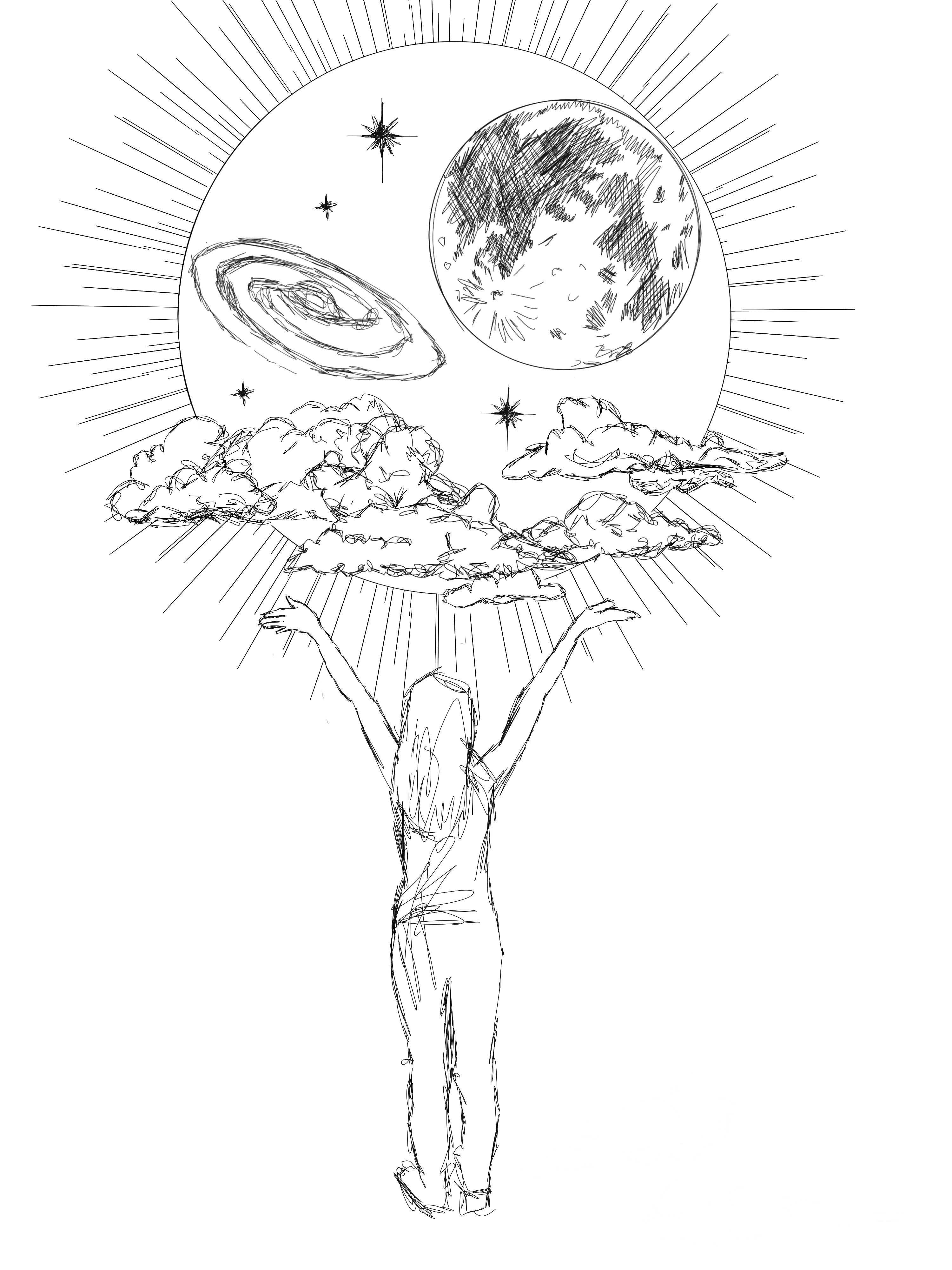 NU '19 Julie Malewicz drew this as a special design for our Lakota guests -- it was included on the sweatshirts they received as a gift from the Society of Physics Students, March 2019